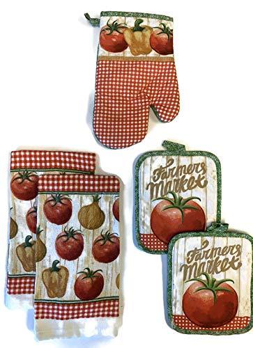 Farmer's Market Ripe Tomatoes 5 Piece Bundle Package Oven Mitt (1) Potholders (2) Kitchen Towels (2)
