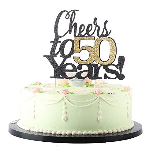 LVEUD Black Font Golden Numbers Cheers to 50 Years Happy Birthday Cake Topper -Wedding,Anniversary,Birthday Party Decorations (50th) ()