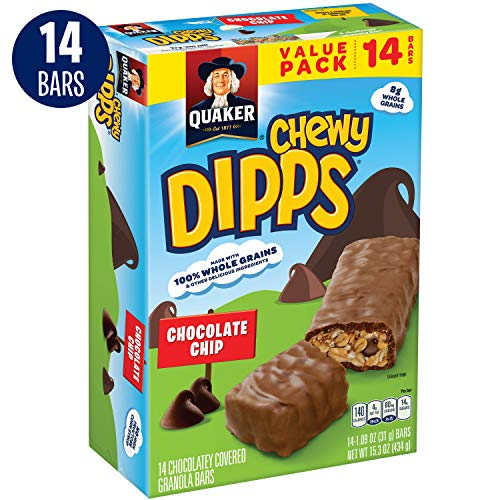 Quaker Chewy Dipps Chocolatey Covered Granola Bars, Chocolate Chip, 14 Bars