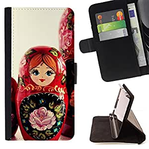 Matryoshka Doll Russian Art Native Red Girl - Painting Art Smile Face Style Design PU Leather Flip Stand Case Cover FOR Samsung Galaxy S5 Mini, SM-G800 @ The Smurfs