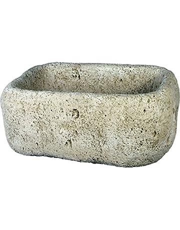 DEGARDEN Jardinera Pila Piedra Exterior Rustica 53x38x25cm.