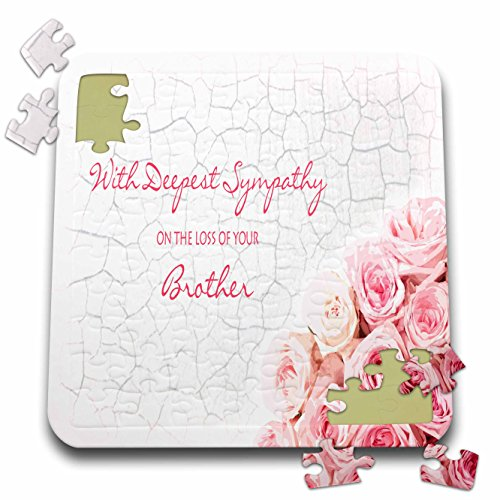 Janna Salak Designs Sympathy - with Deepest Sympathy on The Loss of Your Brother - Pink Roses - 10x10 Inch Puzzle ()
