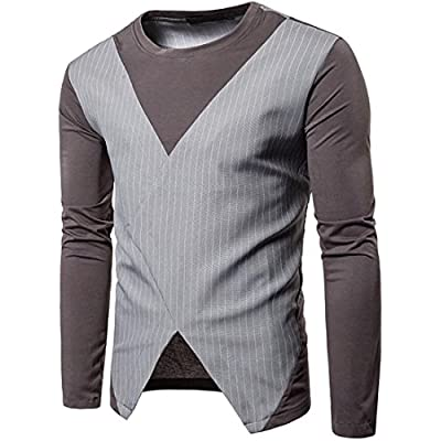 Oberora-Men Fashion Color Block Roundneck Long Sleeve T-Shirts Tops for cheap