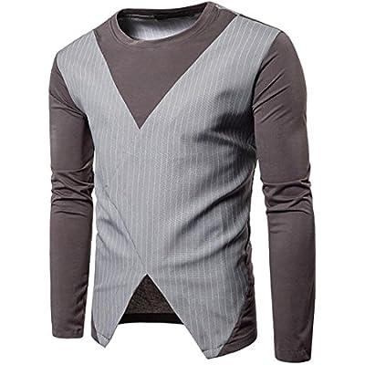 Oberora-Men Fashion Color Block Roundneck Long Sleeve T-Shirts Tops for cheap W7GjnVdm