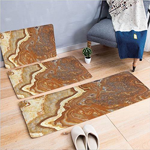 - 3 Piece Non-Slip Doormat 3d print for Door mat living room kitchen absorbent kitchen mat,Mother Earth Elegance Natural Travertine Display,15.7