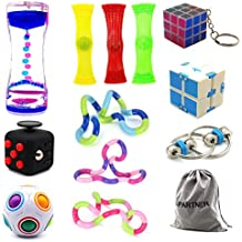 H-Partner Relieves Stress and Increase Focus Bundle Sensory Twisted Squeeze Fidget Toys Set- Fidget Chain/Cube, Infinity Magic Cube/Ball, Liquid Motion Timer Ferrofluid Bottle