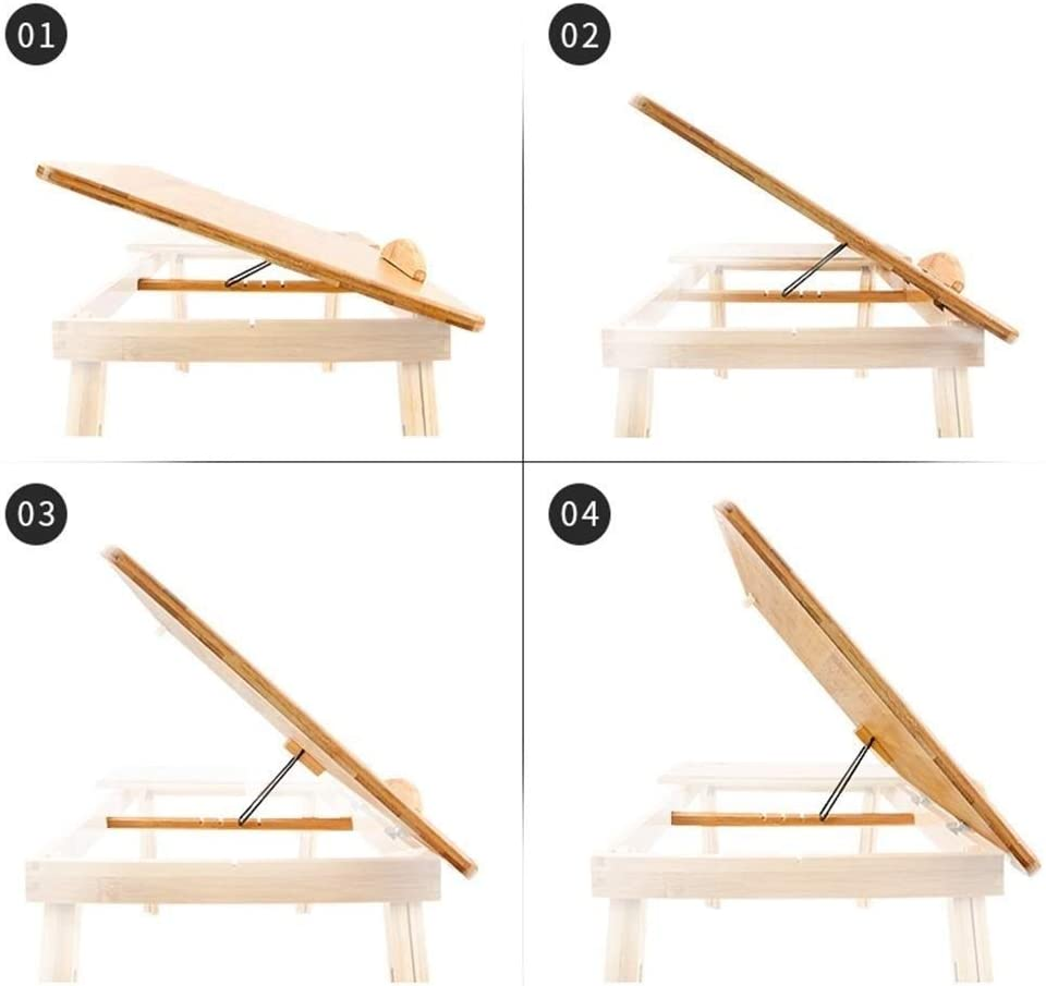 Lapdesk Size : 72cm34cm Wooden Foldable Laptop Bed Table Tray Stand Height /& Angle Adjustable Lap Desk Table with Storage Drawer Laptop Desk