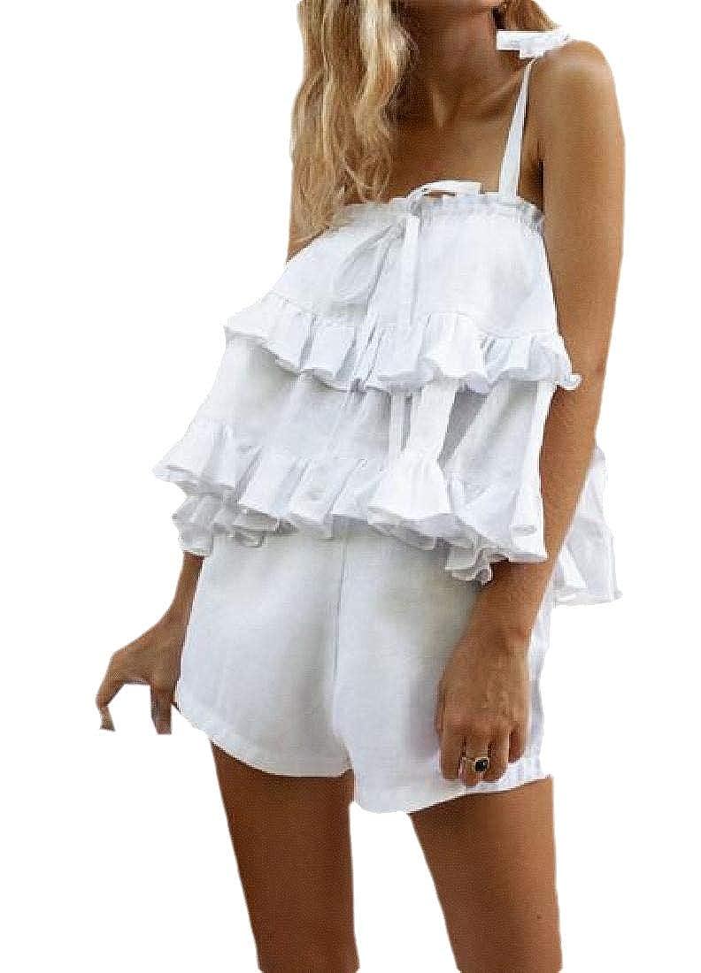 Gocgt - Chándal de Verano para Mujer con Volantes y Pantalones ...