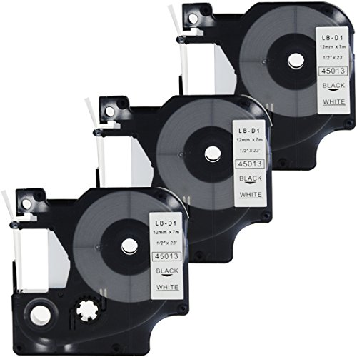 - DYMO D1 45013 Label Tape, LaBold 3 Pack Black on White Label Tape Cartridge Compatible for DYMO Standard D1 45013 Label Manager 1/2