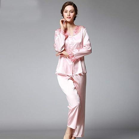 Handaxian Conjunto de Pijamas de Seda para Mujer de Primavera ...