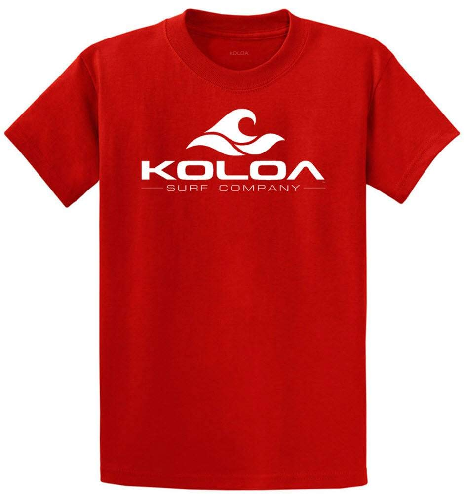 Koloa Surf Classic Wave Logo Cotton T-Shirt Large Tall- LT,Red/w