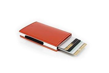 Ögon CL-Orange Tarjetero Cascade Wallet Aluminio y Cuero Italiano Naranja