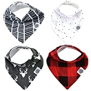 Parker Baby Bandana Drool Bibs – 4 Pack Baby Bibs for Boys, Girls, Unisex -Lumberjack Set