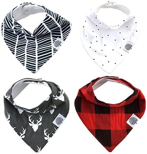 Baberos en forma de bandana The Good Baby, Paquete de 4 baberos para niños, niñas, unisex, Lumberjack