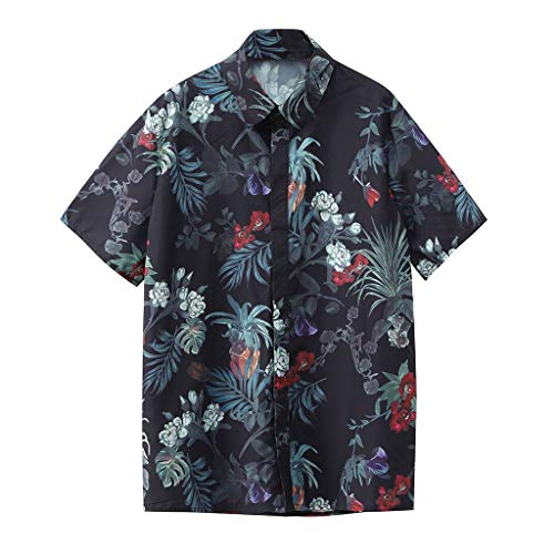 HYIRI Men's Summer Cocktail Printed Slim Fit Stand Collar Button Shirt Top Blouse Black from HYIRI