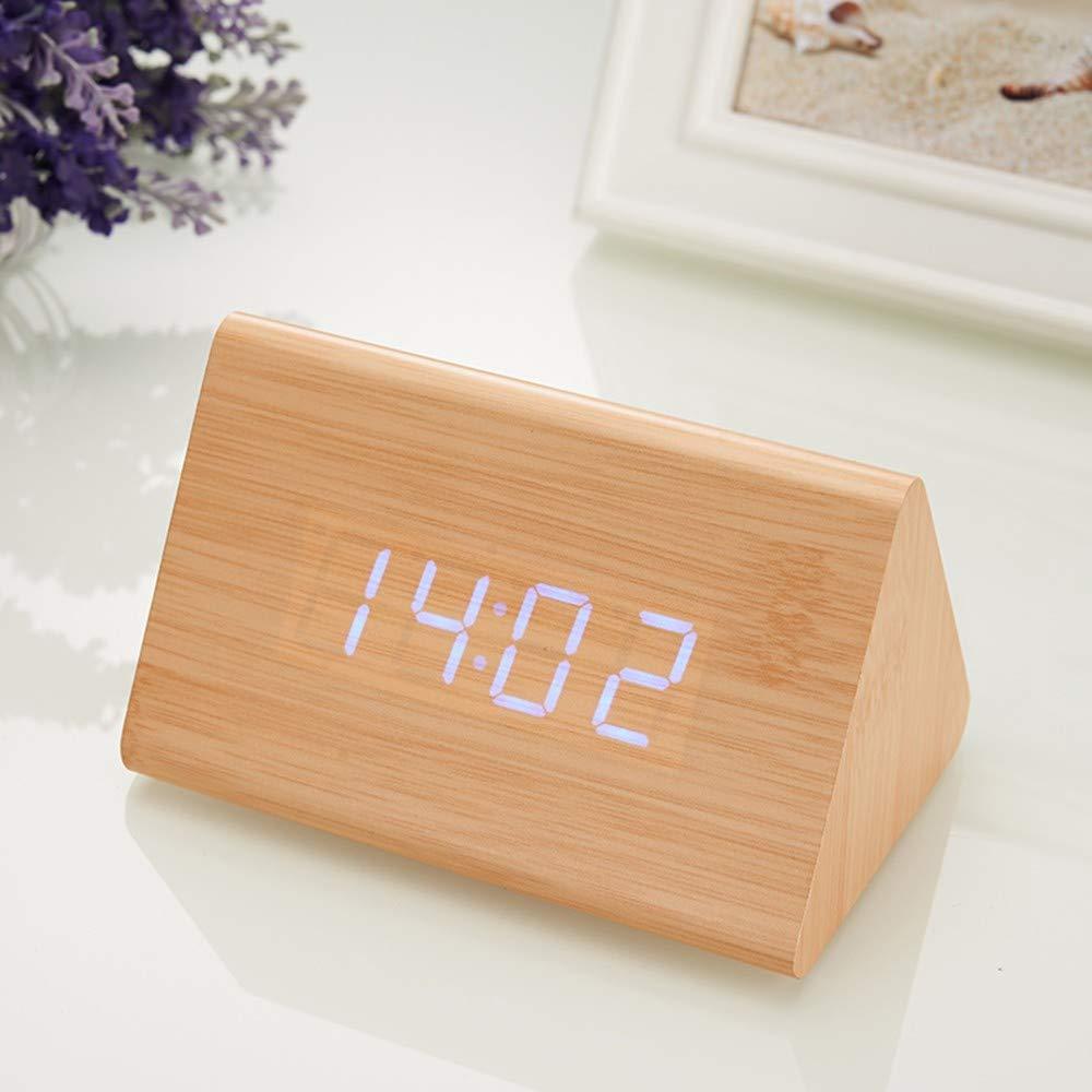 BASTIS Creative LED Bois réveil électronique Triangle contrôle sonore Lumineux muet créatif (Couleur du Bois de Bambou) 120 * 70 * 75mm, Bambou Bois Mot Vert