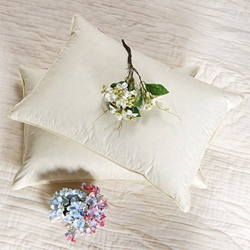 SNOWMAN Down and Feather Filling Firm Support Pillows For Sleeping For Side and Back Sleepers,Ivory Solid in King Size,2 (Filled Snowman)
