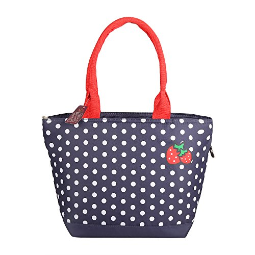 VARANO Insulated Lunch Box - Lunch Bag for Women and Girls/Large Capacity Adults Reusable Lunch Tote Cooler Organizer Bag in Navy Blue with White Polka Dots and Strawberry Design (Strawberries) (Tote Bag Health Bag)