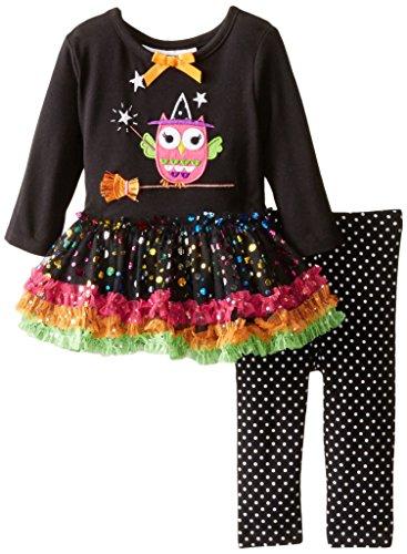 (Bonnie Baby Baby-Girls Halloween Appliqued Legging Set, Broomstick, 3-6)