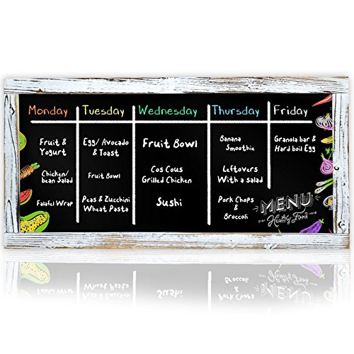 Style Chalkboard (XL Restaurant Chalkboard Menu Blackboard | 16 x 32 Decorative Framed Antique Vintage Style Chalkboards | Wall Mount (Large Hanging Black Board Sign) (16x32))