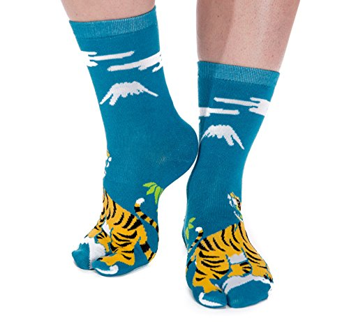 V-Toe Tiger Pattern Big Toe Flip-Flop Tabi Socks Fun Stylish Fashionable Novelty Asian Japanese Socks