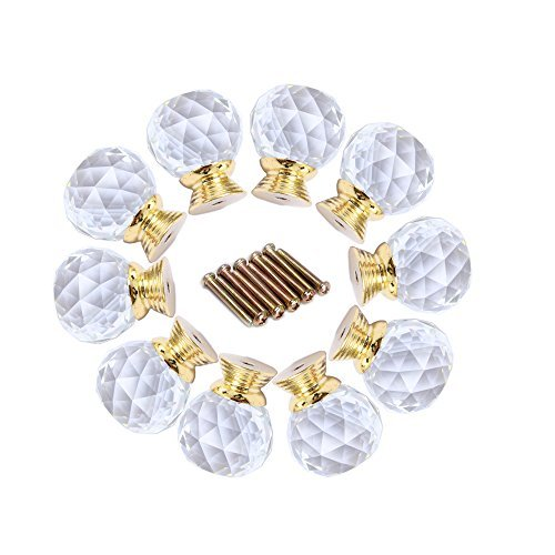 Do4U 10pcs 30mm Crystal Glass Cabinet Knob Drawer Pull Handle Kitchen Door Wardrobe Hardware Used for Cabinet, Drawer, Chest, Bin, Dresser, Cupboard (30mm, Fresh Golden)