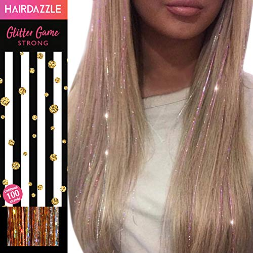 Hair Dazzle Holographic Hair Tinsel Set - Ultimate Fairy Strands Kit - METALS MIX Color Glitter Hair Extensions For Girls - Heat Resistant & Tangle-proof, Long Lasting Women's Sparkle Hair Accessories