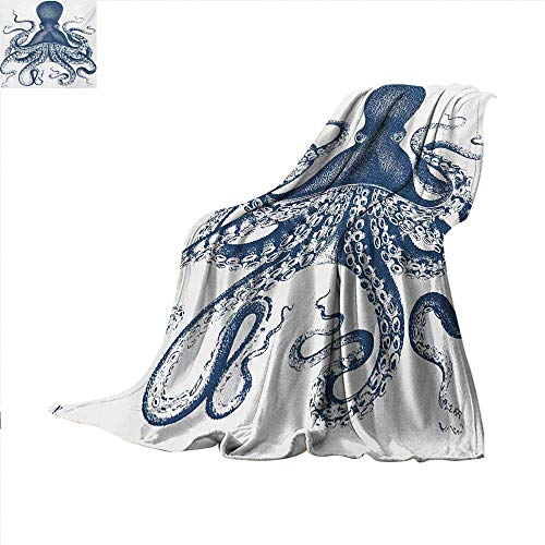 Octopus Digital Printing Blanket Majestic Sea Creature Artistic Illustration with Grunge Effect Underwater Life Summer Quilt Comforter 62 x 60 inch Blue White