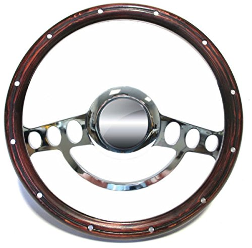 Hot Rod Street Rod Rat Rod Chrome & Wood Steering Wheel Nine Hole 14