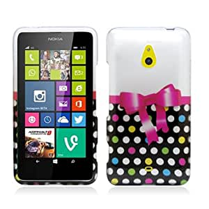 Plastic Colorful Polka Dots W/ Bow Tie Hard Cover Snap On Case For Nokia Lumia 1320 + Free Screen Protector (Accessorys4Less)