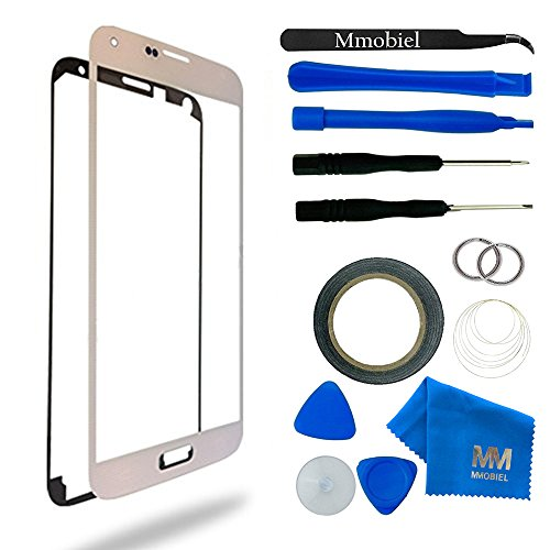 MMOBIEL Front Glass for Samsung Galaxy S5 / S5 Neo (White) Display Touchscreen replacement kit 12 pcs incl tools / pre cut Sticker / cloth / suction cup / wire
