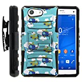 TurtleArmor | Sony Xperia Z3 Compact Case | D5803 [Hyper Shock] Hard Reinforced Rugged Impact Hybrid Cover Belt Clip Holster Kickstand - Airplanes in the Sky