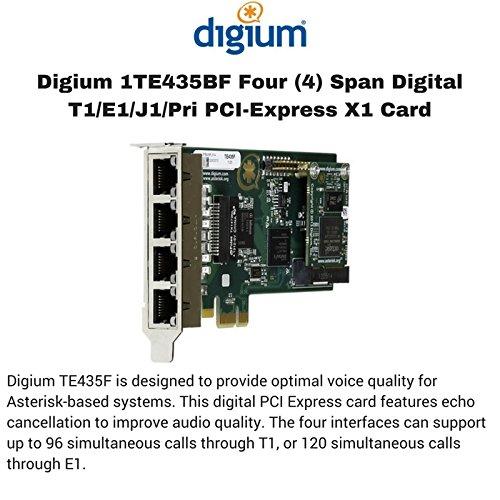 Digium 1TE435BF 4 Span Digital T1/E1/J1/PRI PCI-Express X1 Card and Hardware Echo Cancellation