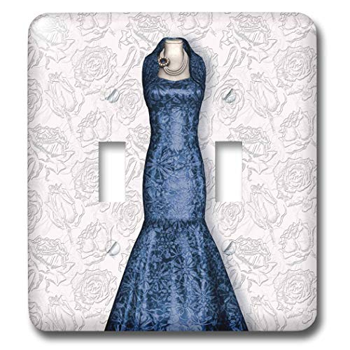 3dRose Doreen Erhardt Wedding Collection - Blue Bridesmaid Gown on Soft Faded Rose Bud Background for Wedding - Light Switch Covers - double toggle switch (lsp_304624_2)