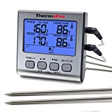 grill temperature gauge - ThermoPro TP-17 Dual Probe Digital Cooking Meat Large LCD Backlight Food Grill Thermometer with Timer Mode for Smoker Kitchen Oven BBQ, Silver