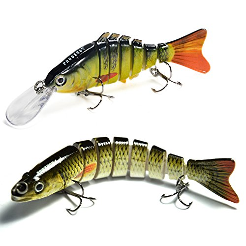 Bass Fishing Lure Swimbait Hard Lures- Rattling Trap Lure with Multi Segments and 2 Trebles Hooks 1/2-Ounce 4.4-Inch and 5/8-Ounce 5-Inch 8 Segmen (Multicolor-2pcs)