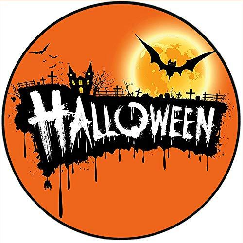 Short Plush Round Area Rug Halloween Spooky Party Theme Flying Bats and Gloomy Full Moon Grunge Style Retro Decor Orange Black Living Room Bedroom 55