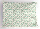 Egg Shell Foam Bedding Lunarable Tree Pillow Sham, Evergreen Trees and Bare Trunks Pattern with Stained-Look Effect, Decorative Standard Size Printed Pillowcase, 26 X 20 Inches, Seafoam Pale Brown Eggshell