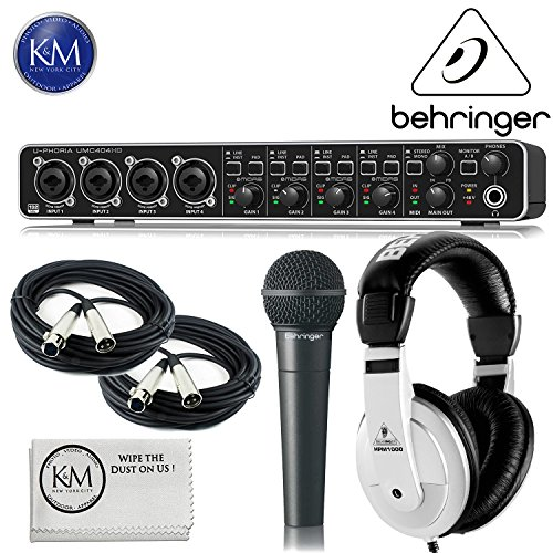 Behringer U-PHORIA UMC404HD - USB 2.0 Audio/MIDI Interface + Behringer XM8500 Dynamic ULTRAVOICE Mic + Behringer HPM-1000 Headphones + 2 x 20ft Structure XLR Cables + K&M Micro Fiber Cloth Bundle