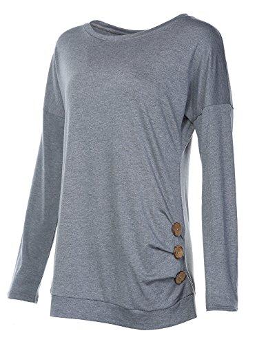 Women's Casual Shirt Long Sleeve Loose Top Tshirt Grey S