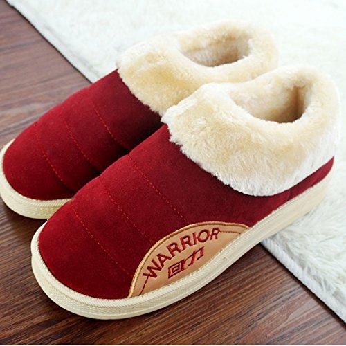 CWAIXXZZ pantofole morbide Inverno pacchetto coppie con uomini pantofole di cotone femmina impermeabili spessa pelle pu home scarpe indoor scarpe caldo per 37-38),76 ,38/39( vino rosso
