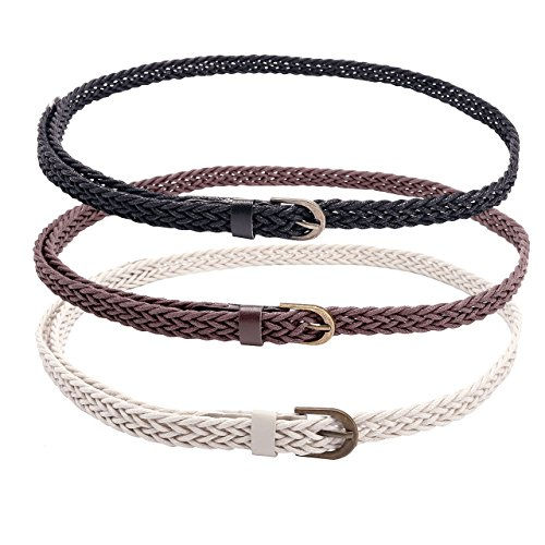 CHIC DIARY Women Braided Waist Belt Skinny Woven Belt for Dress (#B-3pcs(black+white+brown)) (Skinny Braided Belt)