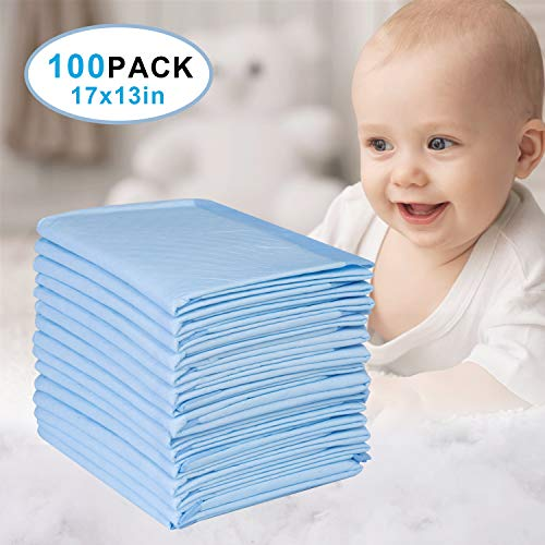 BDGOLE Disposable Changing Pad Leak-Proof Baby Underpad Bed Table Protector Mat 100 PCS, Soft Non-Woven Fabric for Baby Waterproof Diaper Changing Pad Breathable, 17 Inches x 13 Inches