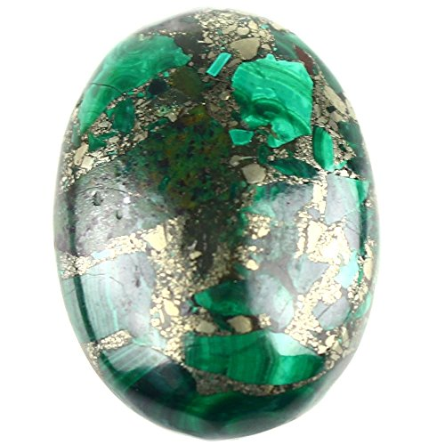 Gemstone Semi-precious Dyed Sea Sediment Jasper Oval Shape Cabochon CAB Flatback Ring Face, DIY Jewelry Accressory (Malachite & Pyrite, 30x22mm)