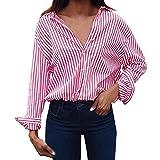 Button Down Shirts for Women,Toimoth Fashion Women Loose Long Sleeve Striped Blouse Casual T Shirt Tops(Pink,S)