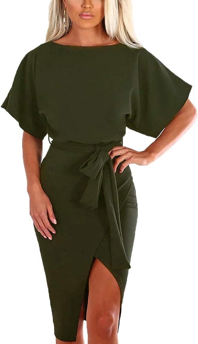 Ajpguot Damen Kleid Rundhals Kurzarm Sommerkleid Asymmetrisch