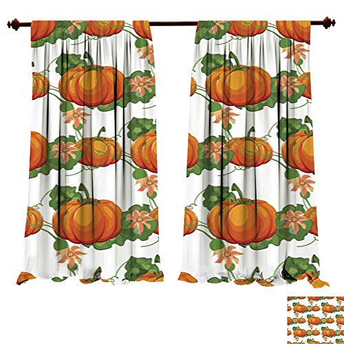DragonBuildingMaterials Curtains for Bedroom Halloween Seamless Pattern Background with Pumpkin 6 Blackout Drapes for Bedroom ()