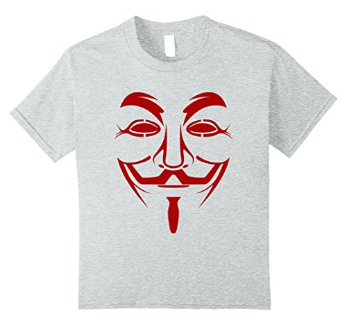 Great Britain Costume For Kids (Kids Guy Fawkes Mask Costume T-Shirt 10 Heather Grey)