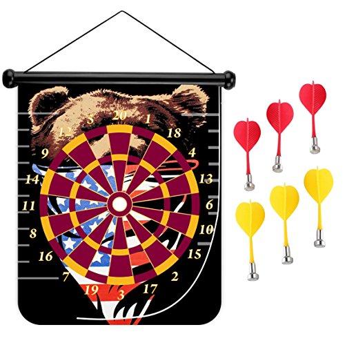 15インチMagnetic Dart Board Double Sided Hanging Dart Board Set and Bullseyeゲーム。Bear 2