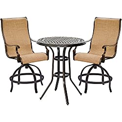 Manor 3-Piece High-Dining Set with 2 Contoured Swivel Chairs and a 30 In. Counter-Height Table